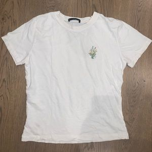 brandy melville white flower embroidered tee